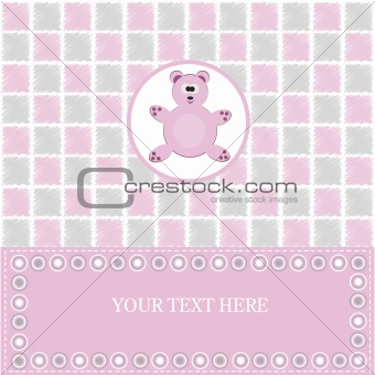 baby greeting card with pink bear