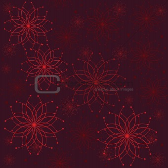 Background with abstract flowers in red tones