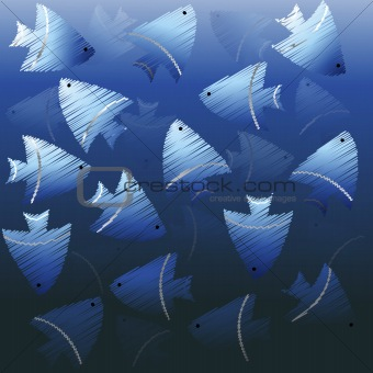 Background with blue fishes