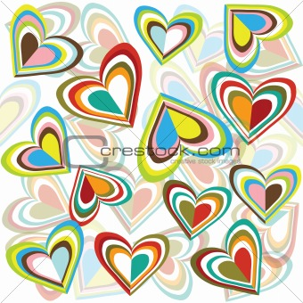Background with colored hearts