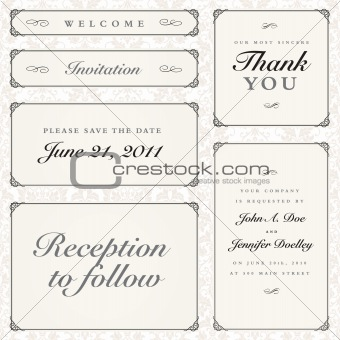 Vector Calligraphy Frames Set