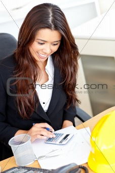 Ambitious businesswoman using her calculator