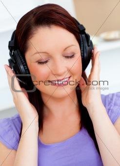 Blissful woman listen to music