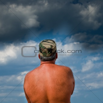 Army man waiting for the storm
