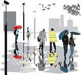City street reflections illustration