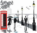 London Embankment people illustration