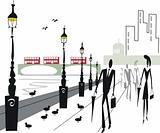 London people walking  illustration