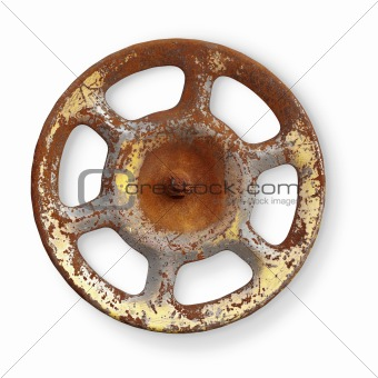 Old rusty metal valve on white background