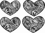 heart with paisley flower pattern