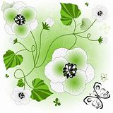 Gentle white-green floral background