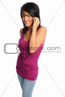attractive hispanic woman in bright shirt