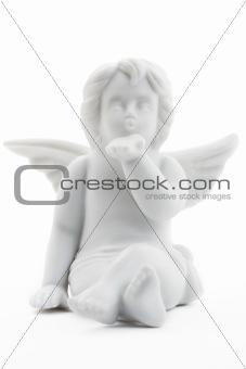 kissing white christmas angel figurine