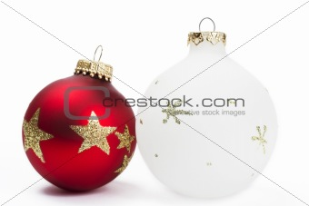 red and white dull christmas balls