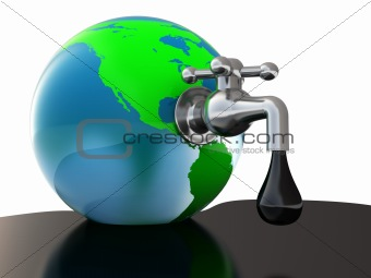 oil faucet in earth globe