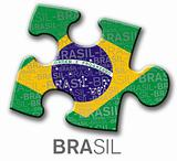 Piece of puzzle with the brazilian flag