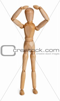Цooden toy person isolated on white