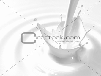 Pouring milk splash with copyspace