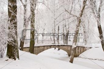 Bridge over channel in winter