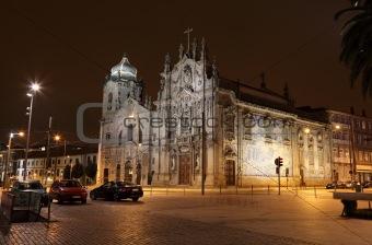 Carmo Church (Igreja do Carmo) illuminated at night, Porto Portugal