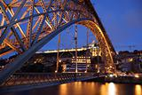 Dom Luis I bridge illuminated at night. Porto, Portugal