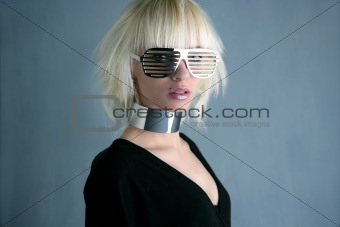 blonde fashion futuristic silver glasses girl  gray background