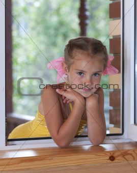 A girl in the window.