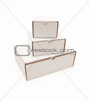Stack of Blank White Carboard Boxes Isolated on a White Background.