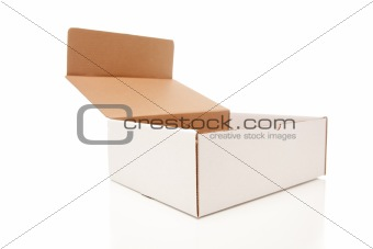 Blank White Carboard Box Opened Isolated on a White Background.