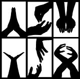 Hands Silhouette Collage