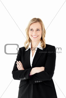 Attractive businesswoman with folded arms isolated
