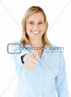 Positive caucasian businesswoman with thumb up