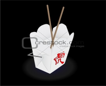 chinese fast food box illustration