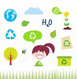 Recycle, nature and ecology icons isolated on white background