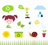 Agriculture, garden and nature icons isolated on white background