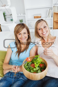 Animated women eating a salad