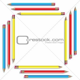 Sixteen color pencils. Vector illustration