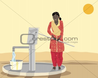 asian woman at a well