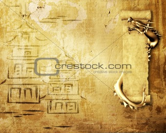 Grunge background with dragons and scrolls
