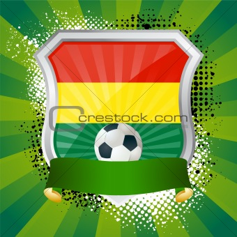 Shiny metal shield on bright background with flag of Bolivia