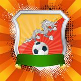 Shiny metal shield on bright background with flag of Bhutan