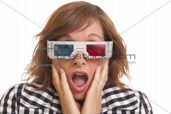 Portrait of surprised young woman with 3D glasses