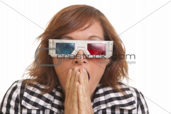 Portrait of scared young woman with 3D glasses