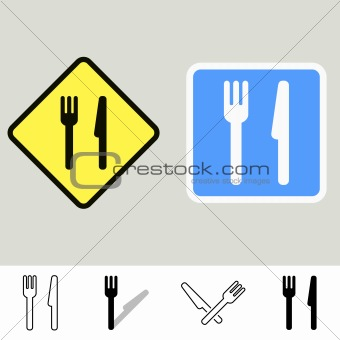 Fork and knife signs
