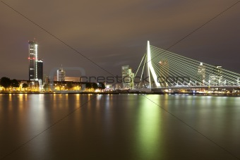 Skyline Rotterdam by night with the Erasmusbrug