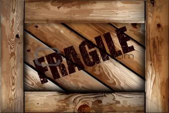 Grunge fragile wooden box background. Vector