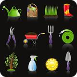 Garden black icon set