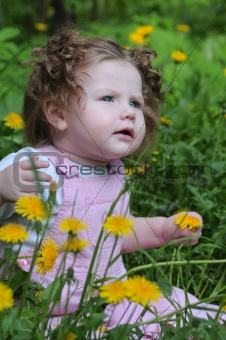 Baby on meadow