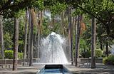 Volcano Fountain in Park of the Nations (Parque das Nacoes) in Lisbon, Portugal
