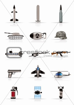 Realistic weapon, arms and war icons