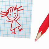 Drawing on a paper and a red pencill. Vector illustration